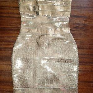Herve Leger gold sequin bandage dress